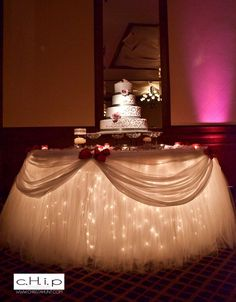 wedding cake table – love the lights under this @ Wedding Ideas