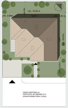 Plan de situatie - Casa moderna cu etaj si mansarda , 164mp utili   CaseDeTop.ro   Modern home , 205.00 sq.m - Site plan   #casedetop #proiectearhitectura #proiectecase #casemoderne #siteplan #homedesign #housedesign #design #architecture Modern Homes, Construction, Design, Sun, Houses, Modern, Building, Modern Houses, Contemporary Houses