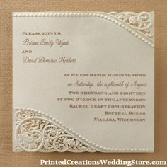 Vintage Pearls and Lace Invitation to elegantly complement a vintage wedding theme.  See this design and many more wedding invitations here - www.PrintedCreationsWeddingStore.com.  #vintageweddinginvitations  #vintagewedding
