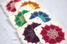 #Crochet Dahlia Squares free pattern by @repeatcrafterme