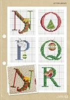 Gallery.ru / Фото #53 - CrossStitcher 311 - tymannost Christmas Cross Stitch Alphabet, Monogram Cross Stitch, Xmas Cross Stitch, Cross Stitching, Alphabet And Numbers, Xmas Decorations, Christmas Projects, Needlepoint, Stitch Patterns