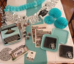 Graduation party- My daughter, Editor & Chief of the HS newspaper, wasn't into the traditional red and black school colors. Because I knew she loved journalism, and old typewriters, I chose her graduation party colors on the color of typewriter I found at an antique store.