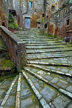 Stairway, Pitigliano, Tuscany, Italy.