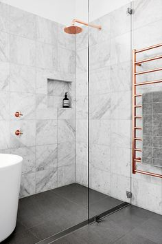 White Marble Tiles, Black Floors, Freestanding Tub, Copper Shower Head And  Towel Warmer. Horton U0026 Co Interior Designer Newcastle