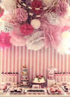 Marie Antoinette style party? Love!  #decor #partydecor #theme #partytheme #partytime #desserttable #dessertbar #desserts #sweets #pink #ruffles #decorations