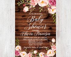 Boho Baby Shower, Rustic Floral Baby Shower Invitation, Shabby Chic Girl Invite, Peony and Rose, Vintage Wood, Country Style 210