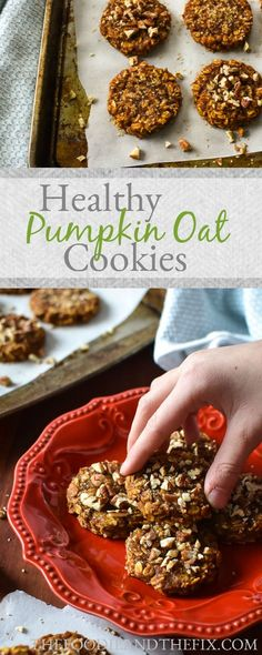 21 Day Fix Pumpkin Oat Cookies - Healthy, one-bowl fall-flavored cookie recipe that you can prep in less that 5 minutes. A dessert so good for you, you could eat it for breakfast! Day Fix Recipes Menu) Healthy Oat Cookies, Healthy Sweets, Healthy Dessert Recipes, Healthy Baking, Healthy Bars, Healthy Deserts, Almond Cookies, Pumpkin Cookies, Pumpkin Dessert
