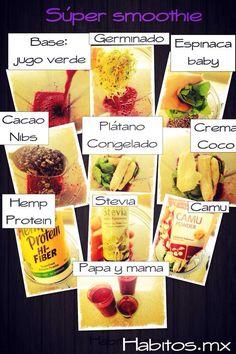 Super smoothie: base de jugo verde mas espinaca baby, germinado, cacao, platano, crema de coco