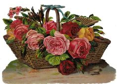 Victorian Die Cut Scrap Large Basket of Roses by Birn Brothers