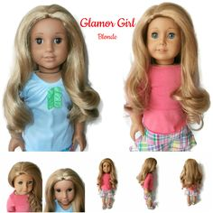 Our Glamor Girl wig in Blonde. It can be parted on the side, center, or not at all.