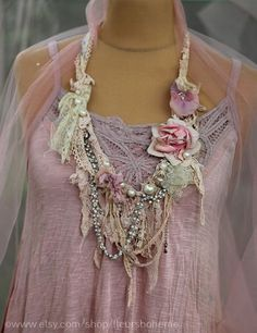 long sassy Summer necklace- antique lace necklace, boho chic, soft layered long necklace from antique handmade lace trims, fibers, beads Shabby Chic Schmuck, Shabby Chic Jewelry, Vintage Jewelry Crafts, Recycled Jewelry, Fabric Flower Necklace, Lace Necklace, Summer Necklace, Textile Jewelry, Fabric Jewelry