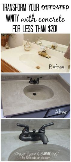 MUST PIN! Learn how to transform a cultured marble vanity with concrete on Remodelaholic.com! Diy Concrete Vanity Top, Concrete Sink Bathroom, Painting Bathroom Countertops, Diy Bathroom Sink Ideas, How To Paint Concrete, How To Paint Countertops, Kitchen With Concrete Countertops, Corian Countertops Colors, Bathroom Makeovers On A Budget