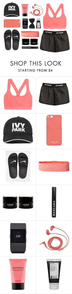 """""""Beyoncé's Ivy Park"""" by for-the-love-of-pink ❤ liked on Polyvore featuring Ivy Park, MICHAEL Michael Kors, NIKE, prAna, Fitbit, FOSSIL, Sephora Collection and Korres"""