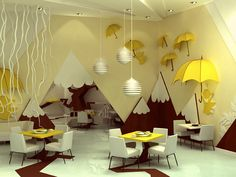Decoration, Artistic Small Dining Room Table Set Yellow Tree Umbrella For Kids Summer Party Decorations Ideas: Appealing Interior Summer Home Decorating Ideas Bar Interior, Room Interior, Interior Decorating, Decorating Blogs, Interior Paint, Playroom Design, Kids Room Design, Playroom Ideas, Playroom Furniture