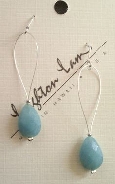 Tear- Drop Amazonite earrings!    Love the color!    http://leightonlam.com/collections/weddingjewelry/products/wedding-collection-tiare