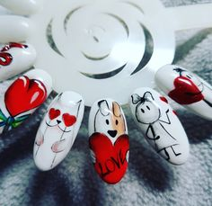 valentines nails  walentynkowe paznokcie Instagram Nails, Day Makeup, Cute Nails, Nail Art Designs, Valentines Day, Nail Polish, My Favorite Things, Number, Stylish