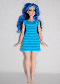 Turquoise stripe Dress A4B113 Curvy Barbie fashionista fashion doll clothes