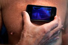 Dave Dye, 65, a retired physicist in French Camp, Calif., has an assortment of body sensors to keep tabs on his health, including a case for his iPhone that can perform an electrocardiogram.