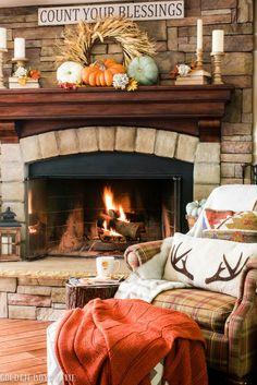 Fall fireplace mantel idea - www.goldenboysandme.com                                                                                                                                                                                 More