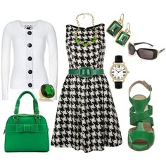 Houndstooth w/Green, created by anakt.polyvore.com