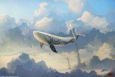 Ballenas en el cielo-Hermosas pinturas de un Artista ruso