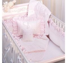Jolie Baby Girl Crib / Cot Bedding Collection - Our magnificent Jolie crib / cot bedding Collection has been crafted from pure cotton French pique with divine little hearts and paired with our cuddly, quilted diamond honeycomb piqué in white.
