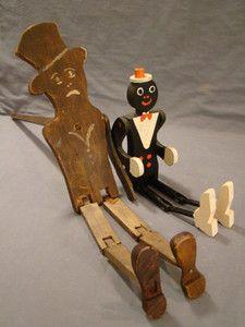 2 Antique Black Americana Old Folk Art Dancing Top Hat Jigger Wood Puppet Toy | eBay