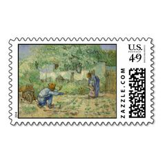 First Steps (after Millet) by Vincent Van Gogh Postage Stamp