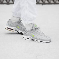 "Nike Air Max Plus ""Pure Platinum/Volt"" - Kicks Links Nike Sneakers, Air Max Sneakers, Pure Platinum, Nike Air Max Plus, Kicks, Retail, Pure Products, Fashion, Nike Tennis"