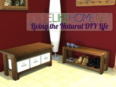 More Like Home: Day 9 - Build a Bench with 2x4s    Front entry/foyer bench. Only about $15 in materials... Hmmmmm.....