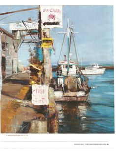 Robert Spooner, Fresh Fish Live Crab, oil, 22 x - Southwest Art Magazine Landscape Paintings, Acrylic Paintings, Oil Paintings, Landscapes, Driftwood Sculpture, Boat Painting, Southwest Art, Fishing Villages, Paisajes