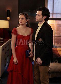 [$129.99] Elegant Red Applique Sweetheart Chiffon Gossip Girl Evening Dress