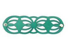 Laser cut leather cuff bracelet - geometric design in green
