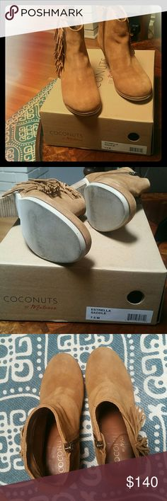 Coconuts by Matisse fringe camel suede booties Suede, saddle camel color  Size 7.5, fits true to size. Extremely comfortable.  Fringe on outside of bootie. Side inside zipper.  Worn only inside. Original box included.  Size not available on Amazon or Zappos. Great price for a all year round bootie. Matisse Shoes Ankle Boots & Booties