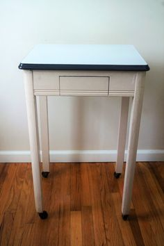 Vintage Enamel Top Table with Drawer for by DauphinTimeCapsule