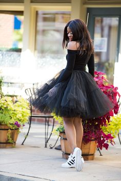 What I Am Wearing: Asos tulle skirt (old, try these here, more here) // Top (similar here and here) // Christian Louboutin heels (here or here, budget friendly here) // Adidas sneaker (here) // BaubleBar choker (c/o here, more… Tutu Skirt Women, Tulle Skirt Dress, Tulle Skirts, Black Tutu Skirt, Frock Fashion, Skirt Fashion, Fashion Dresses, Tutu Outfits, Sexy Outfits