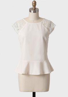 Providence Lace Peplum Top In Cream 36.99 at shopruche.com. Perfected with a sheer lace back, this cream peplum top features back button closures and scalloped sleeves. For a polished look, wear this gorgeous blouse over a camisole and pair with a pencil skirt or skinny pants.100% Polyester, Imported,...