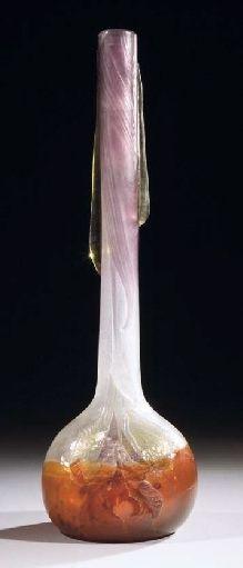 Émile Gallé | Petit Sourire et Grandes Larmes Marqueterie-Sur-Verre Vase, circa 1898-1900. Christie's.