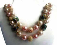 Vintage Art Glass Sugar Bead Necklace Earrings