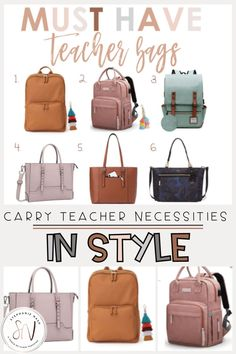 I had to give up my old teacher bag, so I began researching new bags I could use to organize my teaching supplies and papers to grade. These cute teacher backpacks and teacher purse's ended up being my favorite's! Best Teacher Bags, Teacher Wear, Old Teacher, Teacher Style, Teacher Outfits, Classroom Images, Classroom Labels, Backpack Organization, Teacher Organization