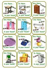 House equipment - domino cards worksheet - Free ESL printable worksheets made by teachers