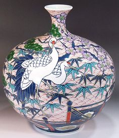 Product Name Fujii Kinsai Arita Japan - Somenishiki Kinsai Sho Chiku Bai Tsuru Vase cm (Pine, Bamboo, Plum, Crane, Seigaiha. Japanese Bowls, Japanese Ceramics, Japanese Pottery, Japanese Crane, Japanese Art, Painted Vases, Hand Painted, Okinawa, Asian Vases