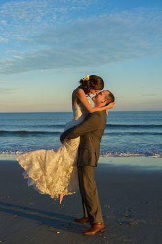 Hannah & Greg: St. John the Baptist Greek Orthodox Church {Myrtle Beach Wedding} | Priscilla Thomas Photography. Bride and groom portraits on the beach near pier 14.