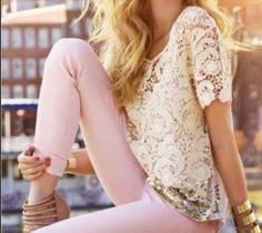 Lace   Blush  Lace Skirt #2dayslook #LaceSkirt #jamesfaith712 #sunayildirim  www.2dayslook.com