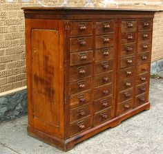 Antique Industrial Oak Apothecary