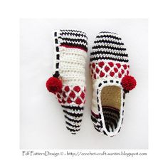 (4) Name: 'Crocheting : Stripe and Dot Slippers
