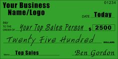 Custom Top Sales Person Oversized Check : Front