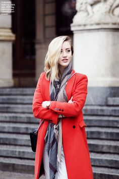 Framboise Fashion :: bright red coat with gray, white and black