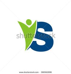 S initial alphabet letter logo with swoosh man, green blue