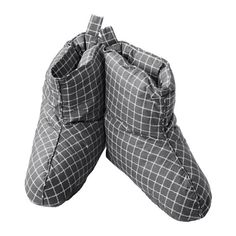 IKEA VINTER 2016 Slippers Grey/white L/XL Lightweight slippers keep your feet cosy and warm.